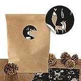 bigdaygraphix DIY Adventskalender zum Befüllen | 24 Adventskalender Tüten mit 24 weihnachtlichen Aufklebern | Adventskalender selber Machen | Zum Basteln und Befüllen für Kinder (Set 2)