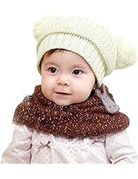 ODJOY-FAN-bambino inverno Tenere caldo Doppia palla Cappello lavorato a  maglia-Sciarpa e Berretto Invernale maglia Bimba Bambina… 25f0d5c5f450