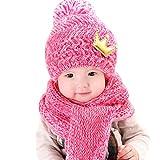 AnKoee Chapeau Bonnet Tricot Bébé Fille Garçon Classique Beanie Chapeau / écharpe + Casquettes (Rose-Rouge)