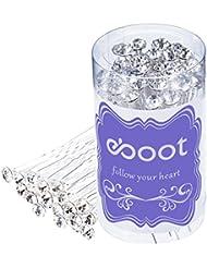 eBoot 40 Pack Blanc Mariage Mariée Perle Fleur Cristal Épingle à Cheveux pour Mariage Accessoires pour Cheveux avec Sac de Stockage