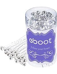 Horquillas para novia: pack de 40 unidades de horquillas de diamantes de imitación en cristal blanco con bolsa de almacenamiento