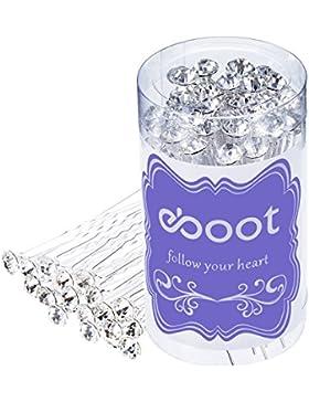 eBoot 40 Stück Weiß Kristall Strass Haarnadel Hochzeit Haarklammer mit Aufbewahrungsbeutel