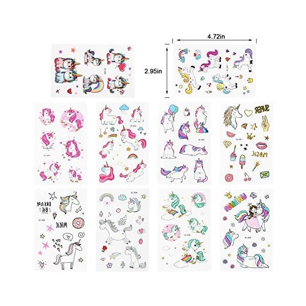 Adesivi per unicorno Tatuaggi temporanei - Regali per bambini unicorno, Tatuaggi per unicorno impermeabili Regali di… 2 spesavip