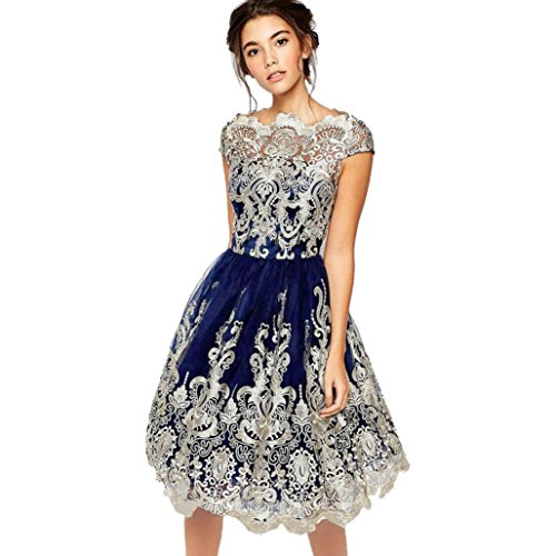 6fa3d6c68ab KEERADS Women s Vintage Formal Evening Short Sleeve Lace Swing Party Dress  (Tag L   UK