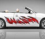 2x Seitendekor Rot Spuren Metall Kratzer 3D Autoaufkleber Digitaldruck Seite Auto Tuning bunt Aufkleber Rennstreifen Seitenstreifen Airbrush Racing Autofolie Car Wrapping Motorrad LKW Decals Sticker Tribal Seitentribal CW042, Größe LxB:ca. 80x20cm