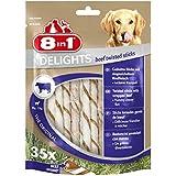 8in1 Delights Beef Twisted Sticks (gesunder Kausnack für sensible Hunde, hochwertiges gedrehtes Rindfleisch), 35 Stück (190 g Beutel)