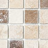 Mosaik Fliese Travertin Naturstein beige braun Chiaro + Noche Travertin für BODEN WAND BAD WC DUSCHE KÜCHE FLIESENSPIEGEL THEKENVERKLEIDUNG BADEWANNENVERKLEIDUNG Mosaikmatte Mosaikplatte