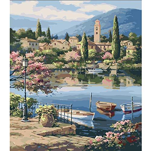 WZZPSD Puzzle 1000 Pièce Rural Riverside Ferry Paysage Salon Coloriage Art Ation Art DIY Puzzl en Bois
