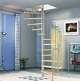 Spindeltreppe Barcelona Dolle Holzstufen Buche (Multiplex) mit Metallgeländer 138cm durchmesser Höhe bis 291cm