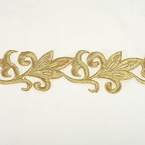 50mm metálico Hierro y oro bordado de encaje por el Yard–novia encaje boda tela Millinery Accent diseño de encaje accesorios para vestido de novia accesorios por annielov Trim # 312