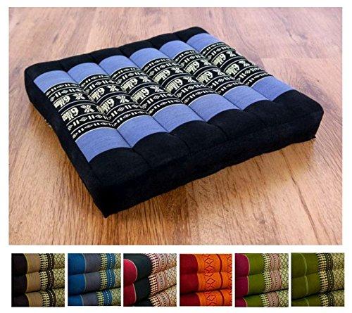 Kapok Sitzkissen 35cmx35cmx6,5cm der Marke Asia Wohnstudio, asiatisches Stuhlkissen, Bodensitzkissen, Gartenstuhlauflage, (blau / Elefanten)