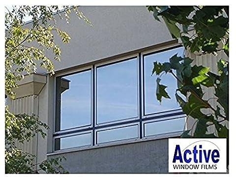 Silver Reflective Window Film (Solar Control & Privacy Tint - One Way Mirror / Mirrored Glass) (50cm x 1 metre - 10 metre) (50cm x 4
