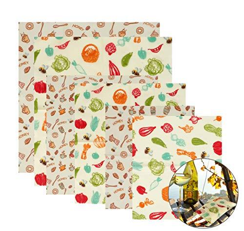 Lyeiaa Wachspapier6er Set, Wachspapier für Lebensmittel Wiederverwendbar Beeswax Wraps, Reusable Food Wrap Wax Wraps, Umweltfreundlich, Nachhaltig & Gesundheit (FDA & GOTS)