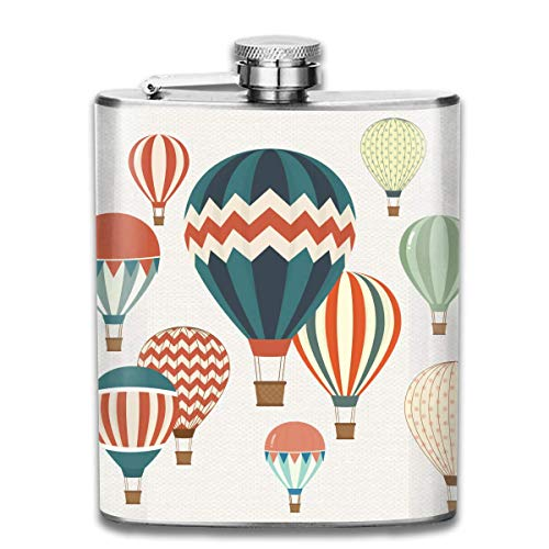 Many Hot Air Balloons Fashion Portable 304 Stainless Steel Leak-Proof Alcohol Whiskey Liquor Wine 7OZ Pot Hip Flask Travel Camping Flagon for Man Woman Flask Great Little Gift -