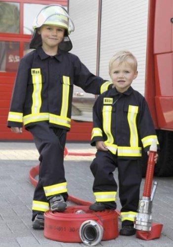 Kinder Feuerwehranzug SET - Karneval - Fasching - Feuerwehrmann (116/128) (Feuerwehrmann Kind Kostüme Schwarz)