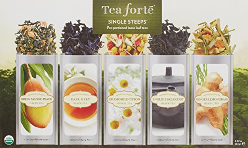 Tee-Probierbox SINGLE STEEPS von Tea Forté, gemischte Teesorten in einer Teekiste, für 15 Tassen Tee - Schwarzer Tee, Grüner Tee, Weißer Tee und Kräutertee -