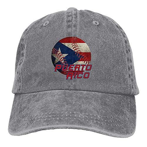 Presock ONE-Heart HR Puerto Rico Baseball Flag Baseball Caps Denim Hats for Men Women