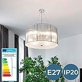 Chandelier Ceiling | Ø 50cm, 4 x E27, A++, Choice of Colours, Retro | Hanging Pendant Light, Decorative Suspension Lamp | for Living Room, Bedroom, Hallway, Corridor, Kitchen (Silver)