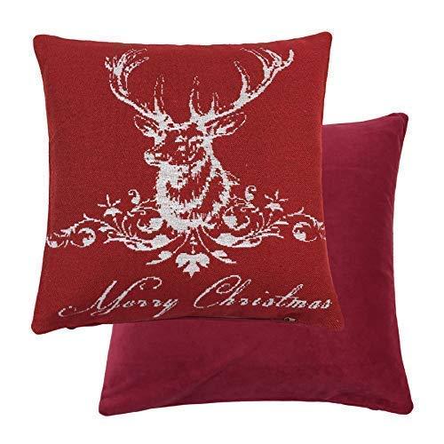 2 X Fröhliche Weihnachten Rentier Hirsch Gewebte Baumwolle Rot Weiß Kissenbezug 18