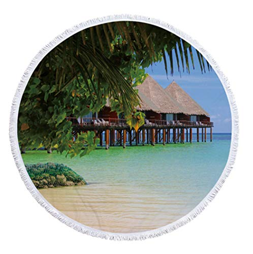 Rundes Strandtuch,Strohgedecktes Häuschen Am Meer Mikrofasergewebe, Mit Gesäumten Streifen, Neuartige Landschaftlich Bedruckte Tischdecke, Picknick-Yoga-Strandschal, Für Die Inneneinrichtung Ge Ge Fiber