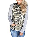 Hoodie Pullover Damen Camouflage Btruely Herbst Winter Mädchen Kapuzenpullover Hooded Sweatshirt Casual Printing Pocket Jacket Langarm Top (L, Camouflage)