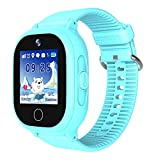 Kids Smartwatch Waterproof, GPS Tracker Phone Watch for Children Girls Boys with SOS Call Flashlight Camera Touch Screen Game Smart Watch Compatible for iOS and Android (Blue)