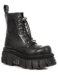 Chaussures De Nouveaux Hommes En Cuir De Motards Rock Longues - M.272 (eu 39, Noir)