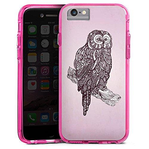 Apple iPhone 6s Plus Bumper Hülle Bumper Case Glitzer Hülle Eule Uhu Owl Bumper Case transparent pink