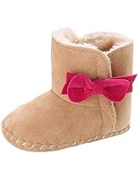 Koly Mantenga al bebé suavemente único botas de nieve blanda cuna Botas Zapatos para niños pequeños calientes (0 ~ 6 meses, Caqui)