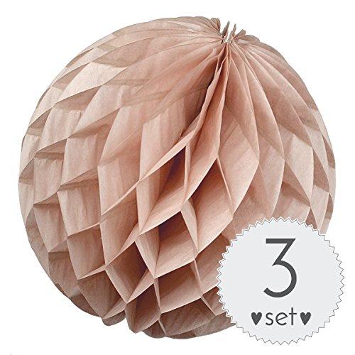 Simplydeko Wabenbälle Puder - Honeycomb Lampions für Party und Hochzeit - 3er Set handgefertigte Papierkugeln (Puder Natur, 30 cm)