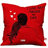 Indibni Valentines Cushion Cover 12X12 with Filler Coffee