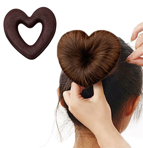 Gluckliy Hair Styling Set Hair Bun Maker Heart Shape Magic DIY Tool Bun Make with Hairband and Hairpin, Brown