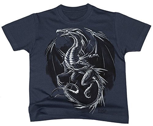 Dragon Gerippte T-shirt (Kinder T-Shirt Drachen Motiv Silver Dragon in denim - wildlife-shirts - Größe 128)