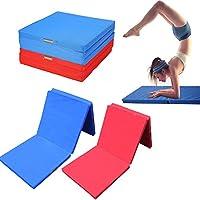 Cómoda Estera Plegable Tres Secciones para Ejercicio Yoga Gimnasia Colchonetas para Tumbling, Programas de Ejercicios, Pilates, Estiramientos, Artes Marciales (Rojo)