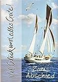 A4 Abschiedskarte Segelschiff Alles Gute Silberprägung