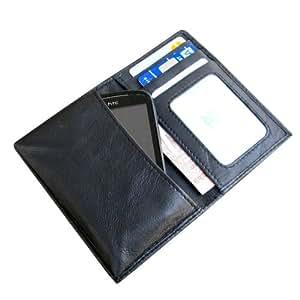 i-KitPit Genuine Leather Wallet Flip Pouch Case For Karbonn A26 (Black)