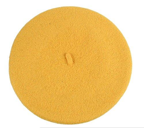 Dosige Sombrero niños de otoño e invierno,Sombrero de princesa para niños,Color puro de Boina niños size 50-52CM (Amarillo)
