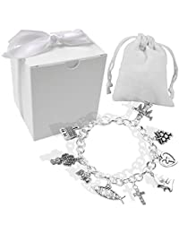 Girls Silver Confirmation/First Holy Communion Charm Bracelet Gift Set