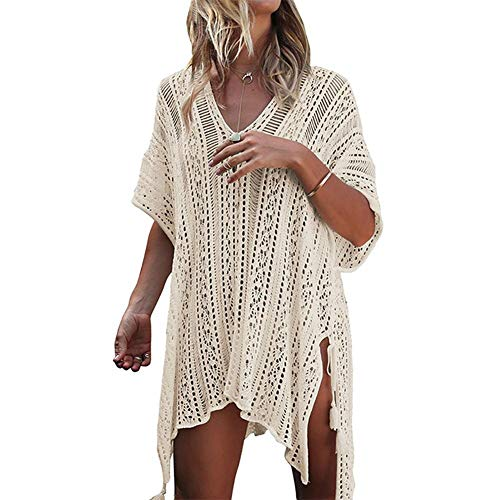 QueenHome Women's V-Neck Hollow Out Swimwear Swimsuit Cover UPS of Plus Size with Beach Swimsuit for Women Sleeve Coverups Bikini Cover Up Net - Beach Bikini Cover