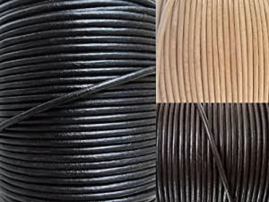 AURORIS - Cordon cuir rond Ø 2 mm - longueur / couleur éligible - variante: 5m / noir