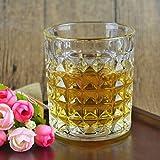 #4: Goldstar Crystal Diamond Cut Straight Whiskey Glasses| Wine Glasses | Home & Bar Tableware| Set of 6 Glasses | 310 ml