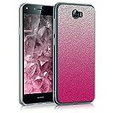 kwmobile Cover per Huawei Y6 II Compact (2016) - Back case custodia in silicone TPU per cellulare - Cover trasparente Design Traccia di brillantini fucsia argento trasparente