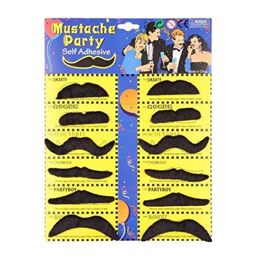 L JENSEN 12 stücke Lustige Stilvolle Kostüm Party Gefälschte Bart Schnurrbart Party Halloween Spaß Gefälschte Schnurrbart Schnurrbart Bart Whisker ()