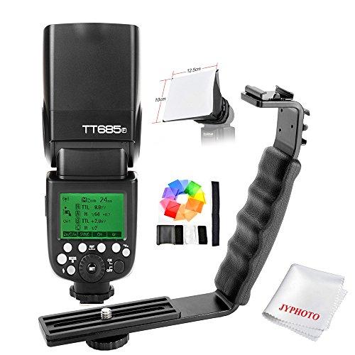 Godox TT685F Blitzgerät HSS 1/8000S GN60 TTL Kamerablitz Flash Speedlite für Fuji Cameras X-Pro2 X-T20 X-T2 X-T1 X-Pro1 X-T10 X-E1 X-A3 X100F X100T mit L Heisser Schuh Halterung/JYPHOTO - 1 Vorhang Bracket