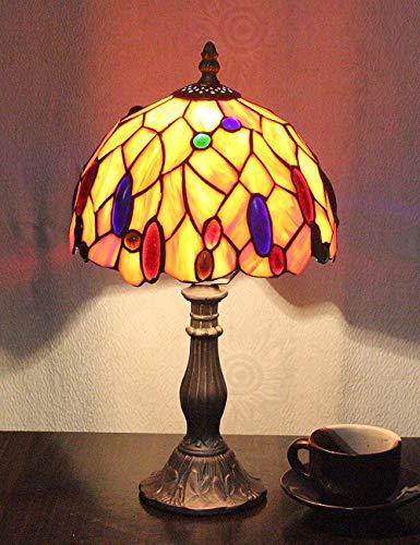 Farbige Glas-tisch-lampen (8 Zoll Pastorale Glasmalerei Farbige Perlen Tischlampe Nachttischlampe für Schlafzimmer Wohnzimmer)