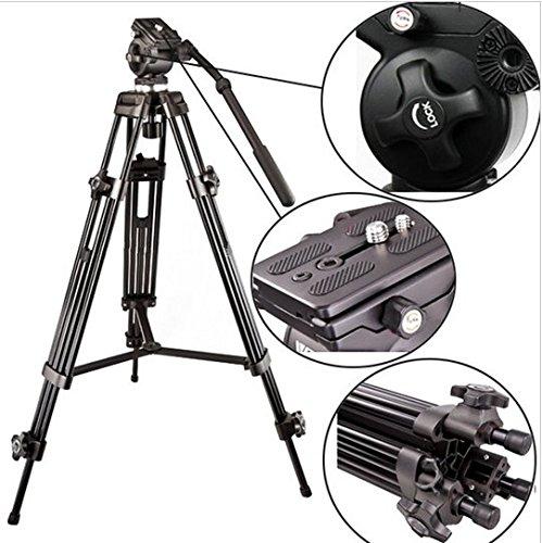 Gowe 1580mm Fluidkopf Stativ Video Camcorder Profi-Stativ 6kg tragen Gewicht mit Fluid Schüssel Pan Head Tragetasche (Schüssel Stativkopf)