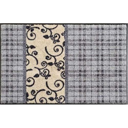 Waschbare Fussmatte - Cottage Patchwork - 50x75 cm Wash+Dry - Bodenmatte mit Ranken Motiv - Fußabstreifer - Türmatte