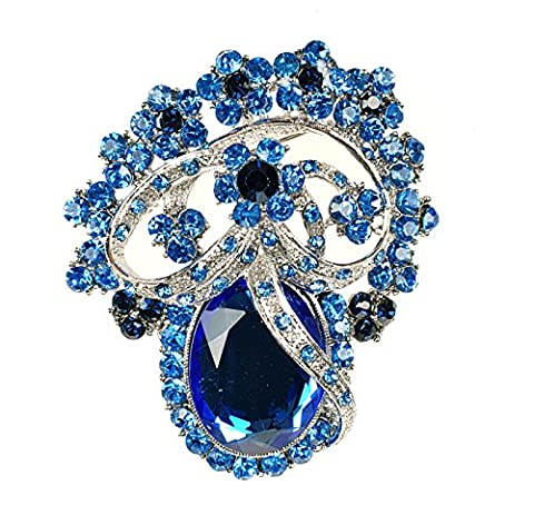 Extravagante sehr große Braut Strass Kristall Brosche Blau Hellblau (BR078)