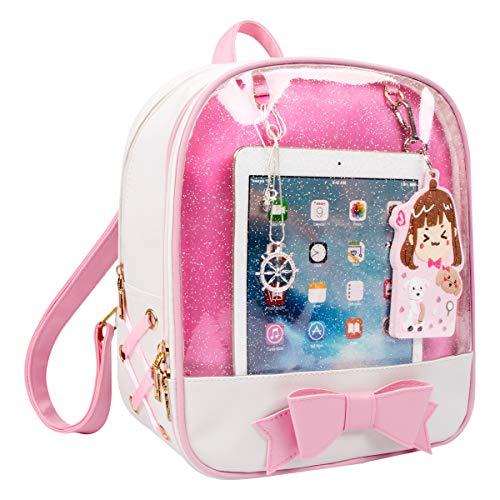 CFL Ita Bag de Niñas Mochila de Cuero de Caramelo Bolso de Escuela Ventana de Bowknot Kawaii