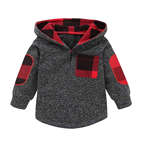 Infant Baby Jungen Mädchen Plaid Hooded Pullover Tops Sweatshirt warme Mantel Outfits